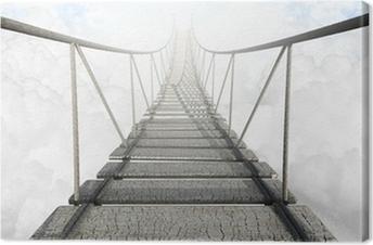 Tuval Baskı Bulutların üstünde halat köprü