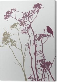 Tuval Baskı Çayır çiçekler kuş