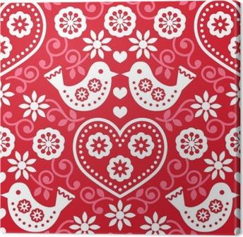 Tuval Baskı Çiçekler ve kuşlar ile halk sanatı kırmızı model desen