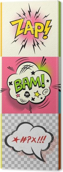 Tuval Baskı Çizgi Roman İfadeler! çizgi roman konuşma baloncukları ve ifade kelimelerin kümesi. vektör çizim -