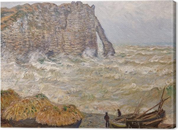 Tuval Baskı Claude Monet - Étretat at Kaba Deniz - Benzetiler