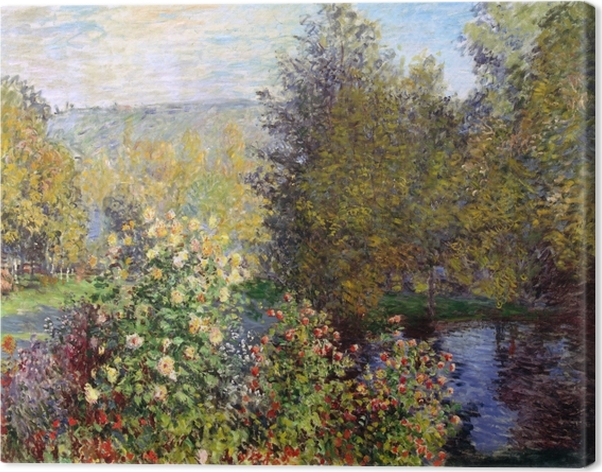 Tuval Baskı Claude Monet - Montgeron at Garden Köşe - Benzetiler