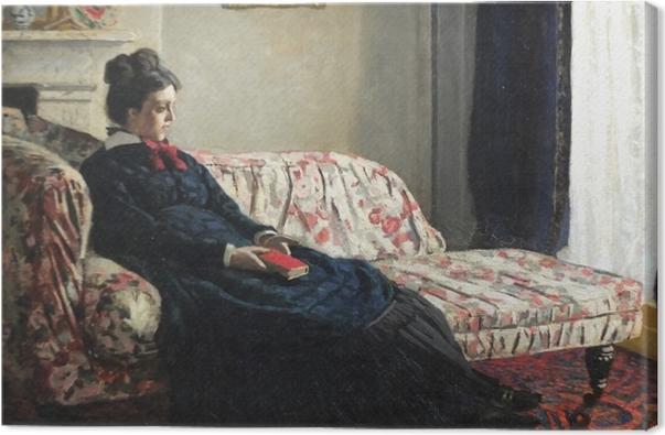 Tuval Baskı Claude Monet - Sofa üzerinde Meditasyon veya Madame Monet - Benzetiler
