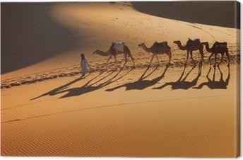 Tuval Baskı Çöl Sahra, Deve Ride Caravan, sahip ve mutlu insanlar
