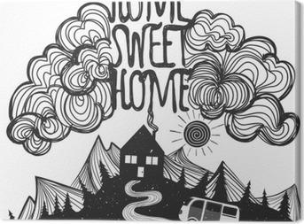 Tuval Baskı Dağlar, ev, araba ve Alıntıyla Vektör ilham afiş