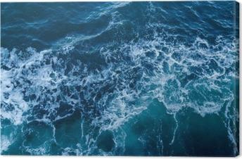 Tuval Baskı Dalgalar ve köpük ile mavi deniz doku