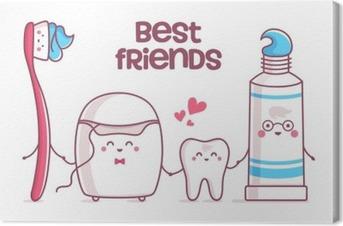 Tuval Baskı Diş, diş macunu, diş ipi, diş fırçası