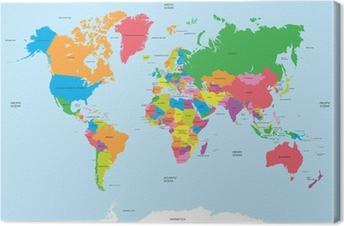 Tuval Baskı Dünya vektörü siyasi haritası