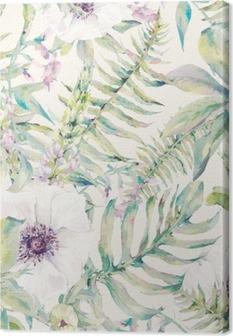 Tuval Baskı Eğrelti otları ve çiçekleri ile Suluboya yaprak sorunsuz desen