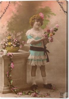 Tuval Baskı Fransız antika vintage postcard küçük kız.