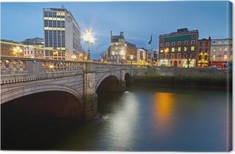 Tuval Baskı Gece, İrlanda'da Dublin O'Connell sokak köprüsü