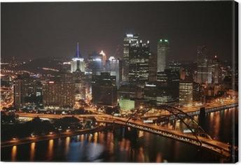 Tuval Baskı Geceleri Mount Washington adlı Pittsburgh'ın silüeti.