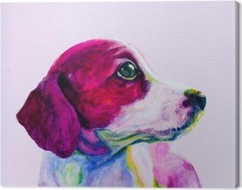 Tuval Baskı Genç bir köpek Buddy portresi, neon renklerde köpek. Looking ve ilgi için özlem