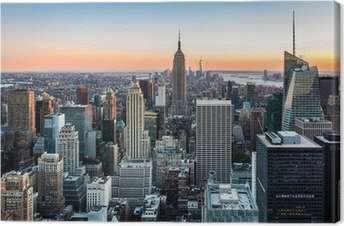 Tuval Baskı Gün batımında New York Skyline