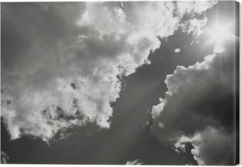 Tuval Baskı Güneş bulutların arasından Kırdı. Siyah Beyaz Fotoğraf
