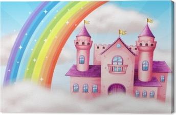 Tuval Baskı Güzel bir pastel kale ve gökkuşağı