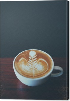 Tuval Baskı Kafede kahve latte sanat fincan