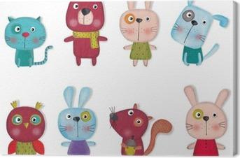 Tuval Baskı Karikatür hayvanlar Set