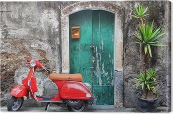 Tuval Baskı Kırmızı scooter