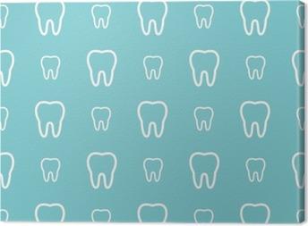 Tuval Baskı Mavi zemin üzerine beyaz dişler. Vektör diş seamless pattern.