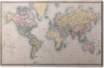 Tuval Baskı Mercators Projeksiyon Old Antik Dünya Haritası