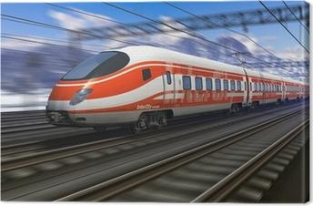 Tuval Baskı Motion blur ile modern yüksek hızlı tren