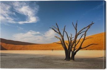 Tuval Baskı Namib Çölü, Namibya Sossusvlei ölü ağaç,