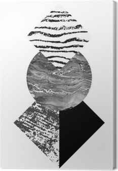 Tuval Baskı Özet geometri suluboya ve grunge dokular ile şekiller