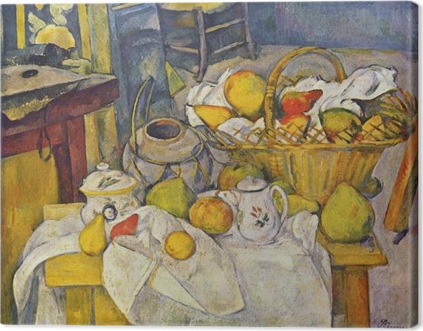 Tuval Baskı Paul Cézanne - Sepeti ile Natürmort - Benzetiler