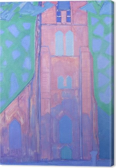 Tuval Baskı Piet Mondrian - Domburg at Kilisesi Kulesi - Benzetiler