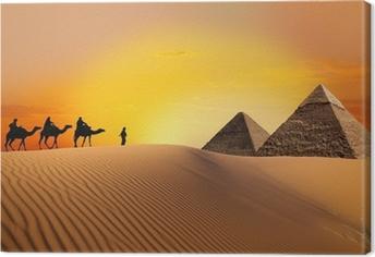 Tuval Baskı Piramit, deve ve gün batımı