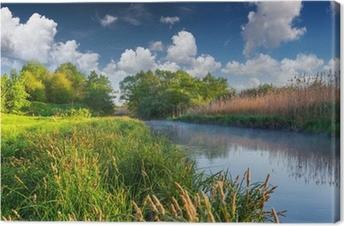 Tuval Baskı Puslu Nehri üzerinde renkli bahar manzara