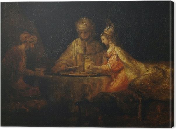 Tuval Baskı Rembrandt - Esther bayram Ahasuerus'un ve Haman - Benzetiler