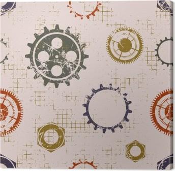 Tuval Baskı Saatin mekanizması ile vektör sorunsuz desenleri. dişli çark ile yaratıcı geometrik bej grunge kökenden. çatlaklar, ambrosia, çizik, yıpratma ile doku. Grafik illüstrasyon.