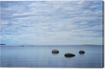 Tuval Baskı Sakin bir koyda kıyısında Kayalar