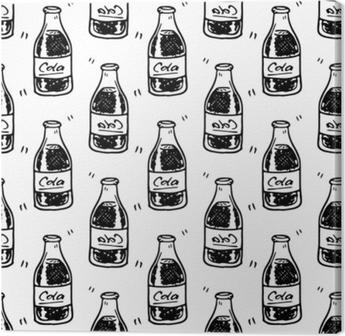 Tuval Baskı Seamless modeli el çekilmiş kola şişesi. siyah doodle çizin. işareti simgesi. dekorasyon öğesi. Beyaz arka plan üzerinde izole düz tasarım. vektör çizim
