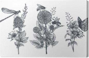 Tuval Baskı Siyah ve beyaz elle çizilmiş otlar, kır çiçekleri ve böcekler ile üç vektör çiçek buketleri kümesi