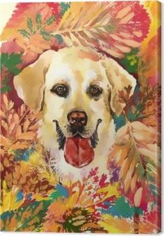 Tuval Baskı Sonbahar köpek çizilen illüstrasyon ver