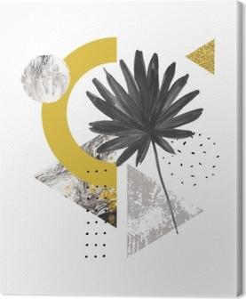 Tuval Baskı Soyut yaz geometrik şekiller, egzotik yaprak. mermer, grunge dokular, karalamalar, suluboya fan palmiye yaprağı ile dolu üçgenler. el modern minimal tarzda geometrik sanat illüstrasyon boyalı