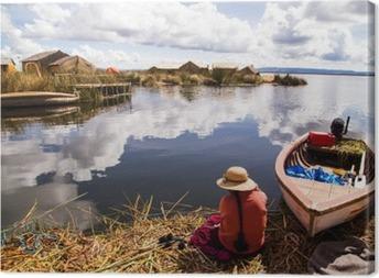 Tuval Baskı Titicaca gölü, Peru__ içinde Uros adası