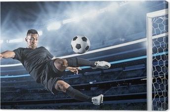 Tuval Baskı Topa vurunca sarı Hispanik Futbol Oyuncu