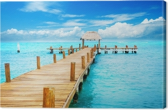 Tuval Baskı Tropic Paradise Tatil. Isla Mujeres, Meksika üzerinde İskelesi