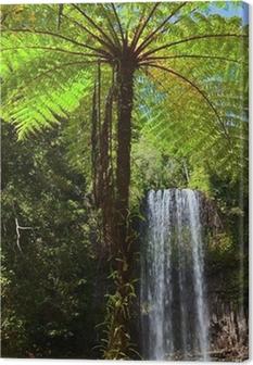 Tuval Baskı Tropik yağmur ormanı cenneti ağaç eğreltiotu ve şelale