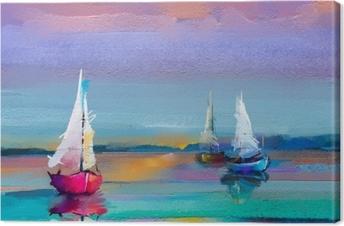 Tuval Baskı Tuval dokusu üzerinde renkli yağlı boya. güneş ışığı arka plan ile deniz manzarası resimleri izlenimcilik görüntüsü. tekne ile modern sanat yağlıboya tablolar, denizde yelken. arka plan için soyut çağdaş sanat