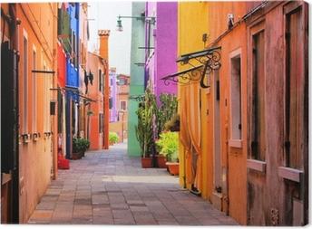 Tuval Baskı Venedik, İtalya yakınlarındaki Burano, renkli sokak