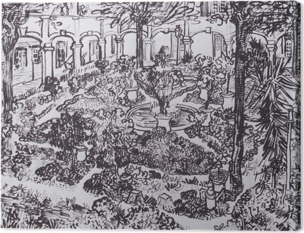 Tuval Baskı Vincent van Gogh - Hastane Courtyard - Reproductions