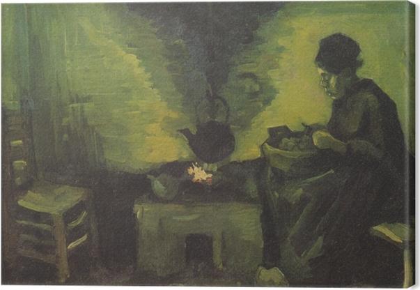 Tuval Baskı Vincent van Gogh - Ocağın tarafından Köylü Kadın - Reproductions