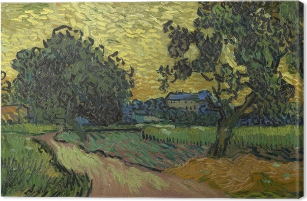 Tuval Baskı Vincent van Gogh - Sunset at Auvers Şatosunun ile Peyzaj - Reproductions