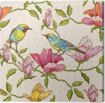 Tuval Baskı Vintage Dikişsiz Arkaplan - Çiçek ve Kuşlar