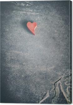 Tuval Baskı Vintage grunge taş arka, sığ alan derinliği, metin alanı ahşap kırmızı kalp tonda.